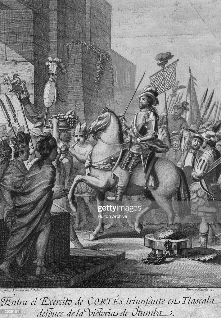 Spanish conqueror of Mexico Hernando Cortez (1485 - 1547), entering Tlascala with his army after the victory of Otumba, circa 1530.