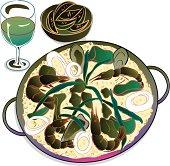 Spanish dish of paella with glass of wine