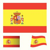spanish flag icon with red and yellow stripes and variation