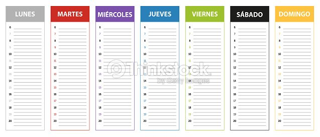 Weekly Calendar In Spanish : Spanish week planning calendar in colors of the day stock