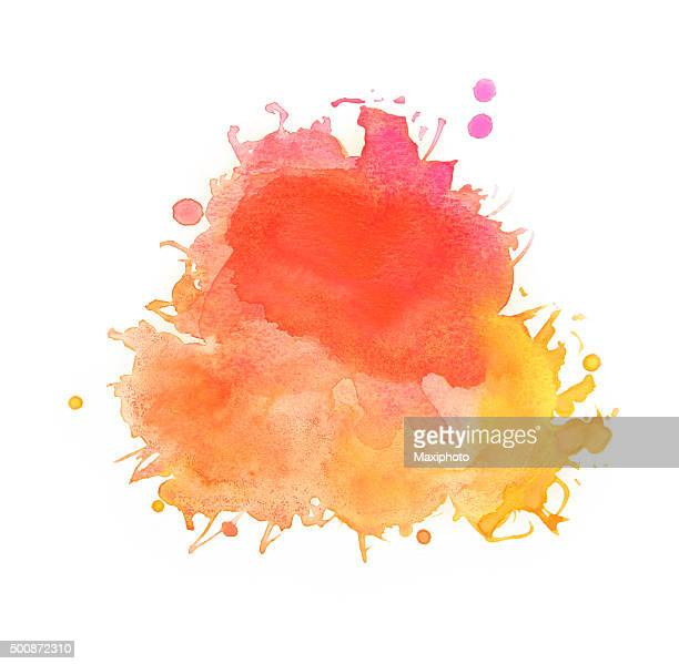 Spattered watercolors, yellow, red and orange paints on white background