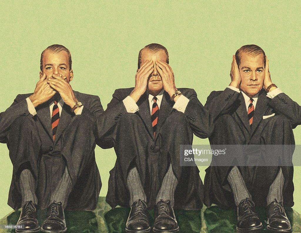Não falo, não ouvir o mal, não vejo : Ilustração de stock