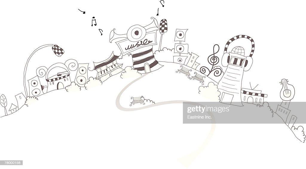 Speaker and headphones on buildings : Vector Art