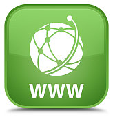 WWW (global network icon) isolated on special soft green square button abstract illustration