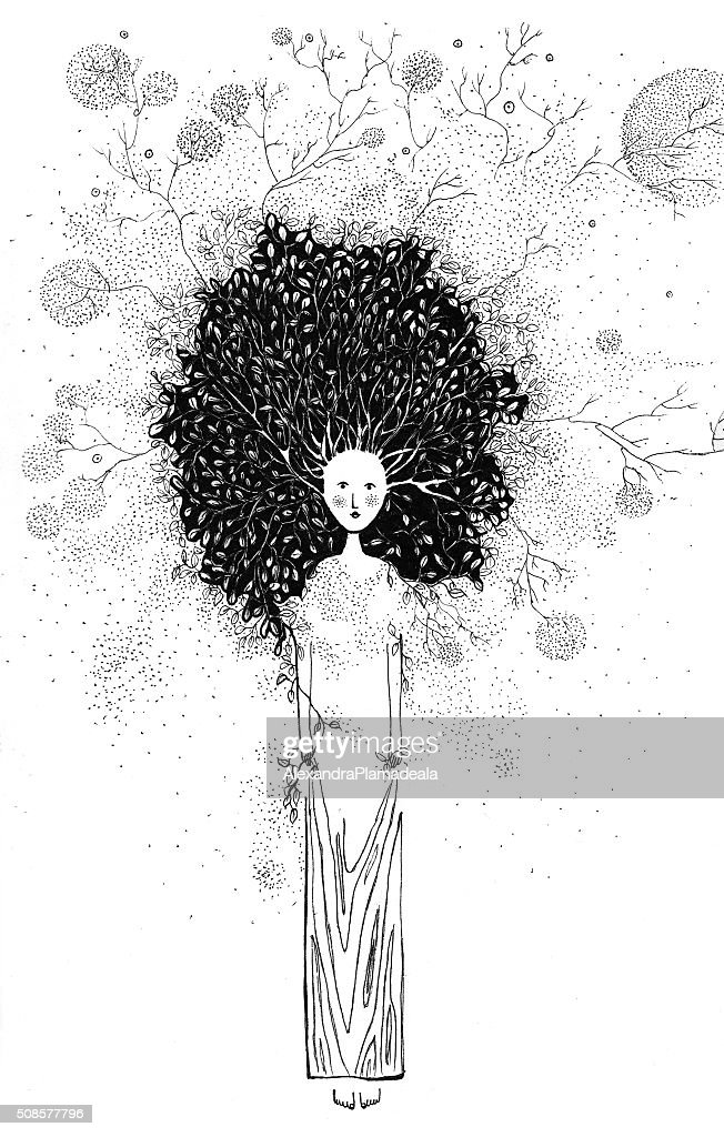 Baum-illustration, tintenblau : Stock-Illustration