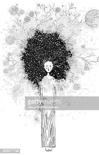 Special tree illustration ink : Stock Illustration