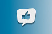 Speech bubble on blue background, Thumbs Up