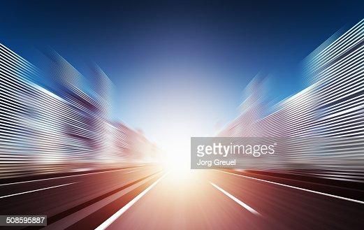 Speeding towards the sunset : Stock Illustration