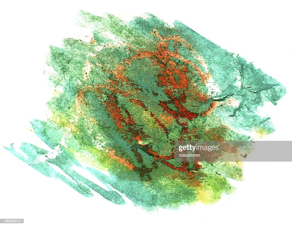splash yellow, green paint blot watercolour color water ink isol : Stock Illustration