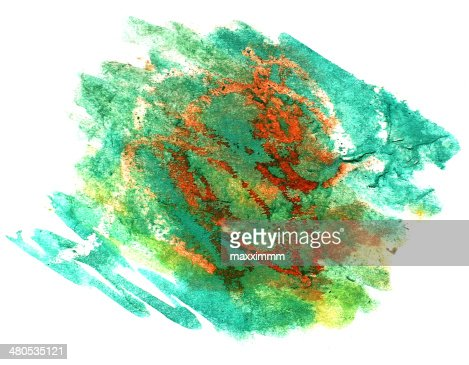 スプラッシュ黄色、緑、水 blot watercolour カラーインク isol : ストックイラストレーション