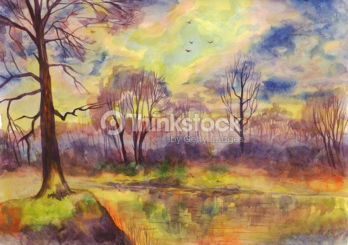 Spring Landscape Sunset On The River Painting Watercolor Stock Illustration