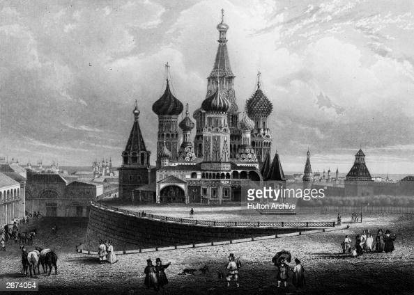 St Basil's Cathedral in Moscow circa 1700 Original Artwork Engraving by Payne after Bydgoszoz
