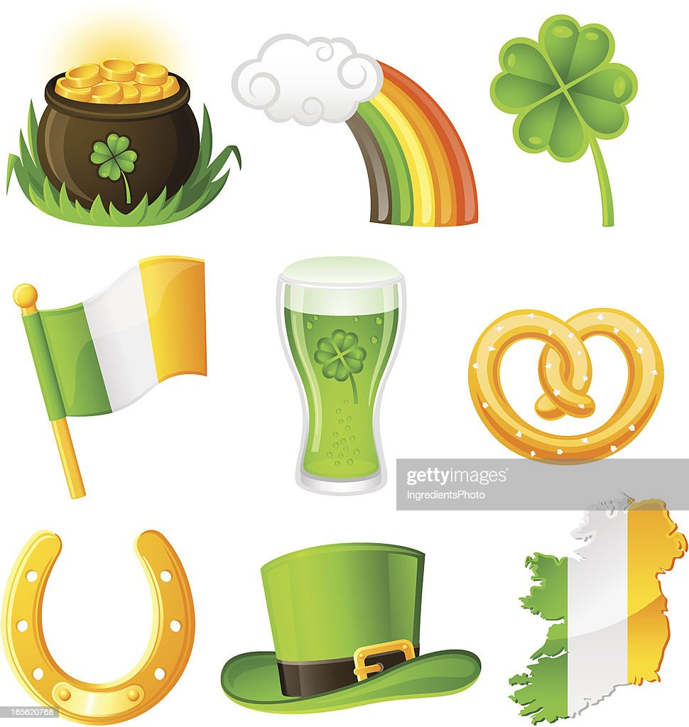 st patricks day icon set vector art getty images