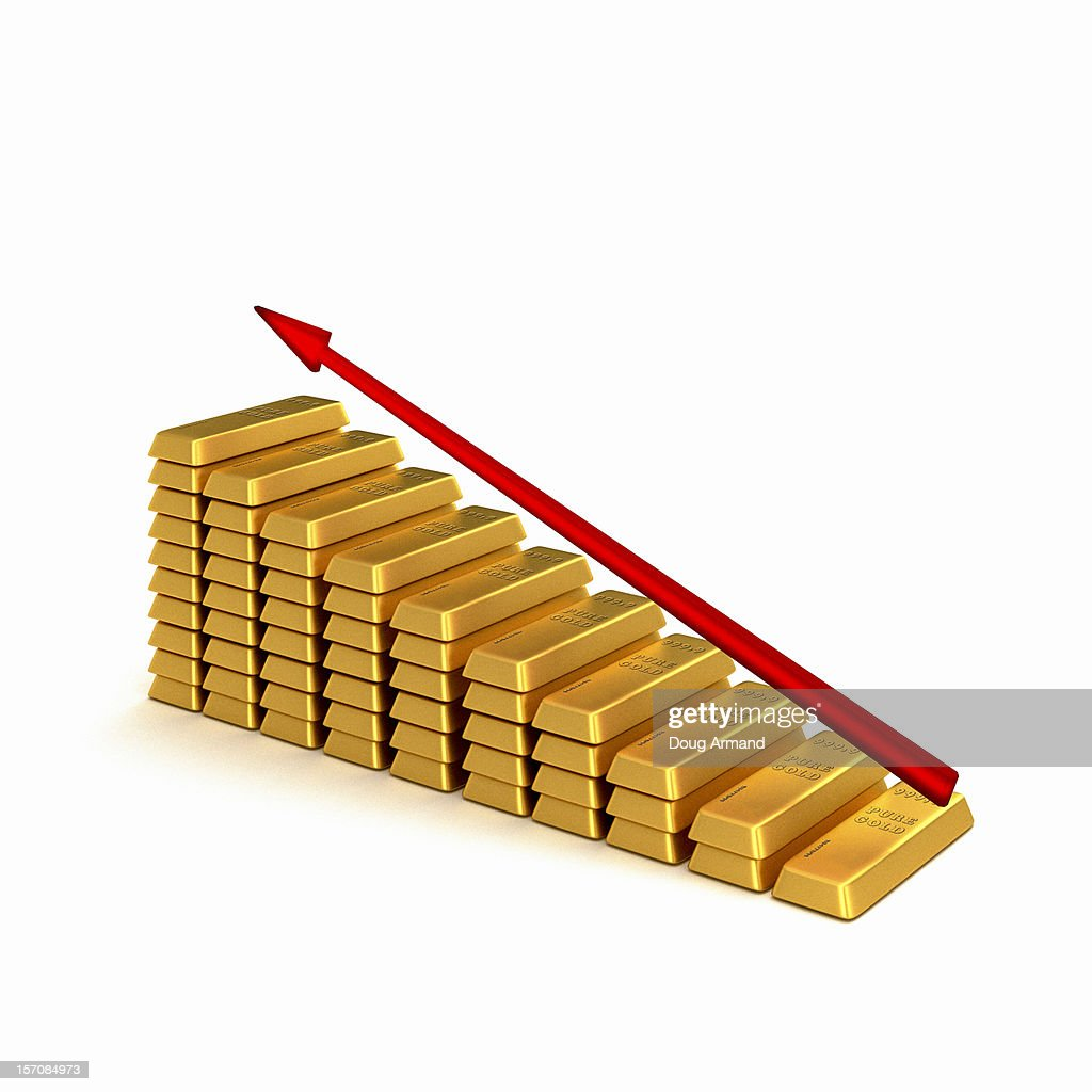 A stack of gold bars with a red upward arrow : Stock Illustration