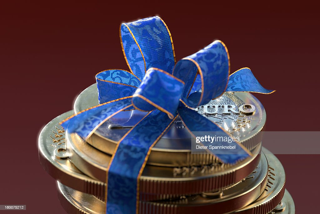 Stack of one euro coins with blue gift ribbon : Stock Illustration
