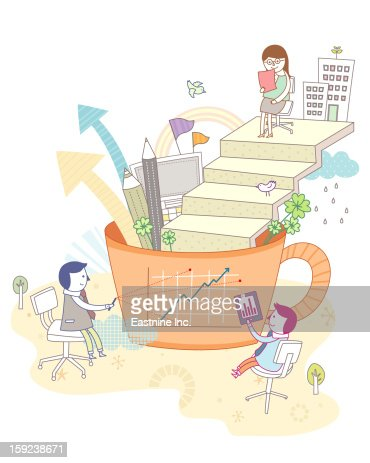 Stairs and children : Stock Illustration