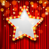 Star Award on red curtain with rain of lights. Design for presentation, concert, show. Vector illustration
