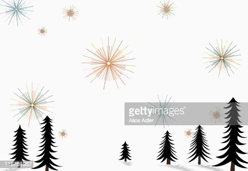 Stars glistening in the sky above pine trees and snow on the ground : Stock Illustration
