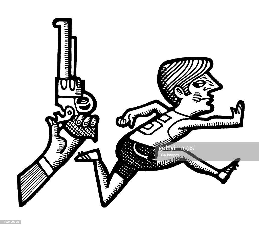 Start of Race With Gun and Runner : Stock Illustration
