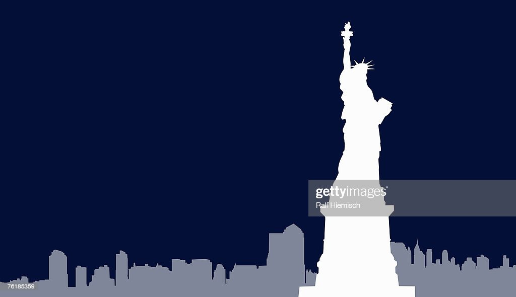 Statue of Liberty and New York City skyline, : Stock Illustration
