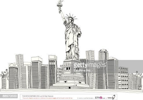 Statue of liberty by skyscrapers : Vector Art