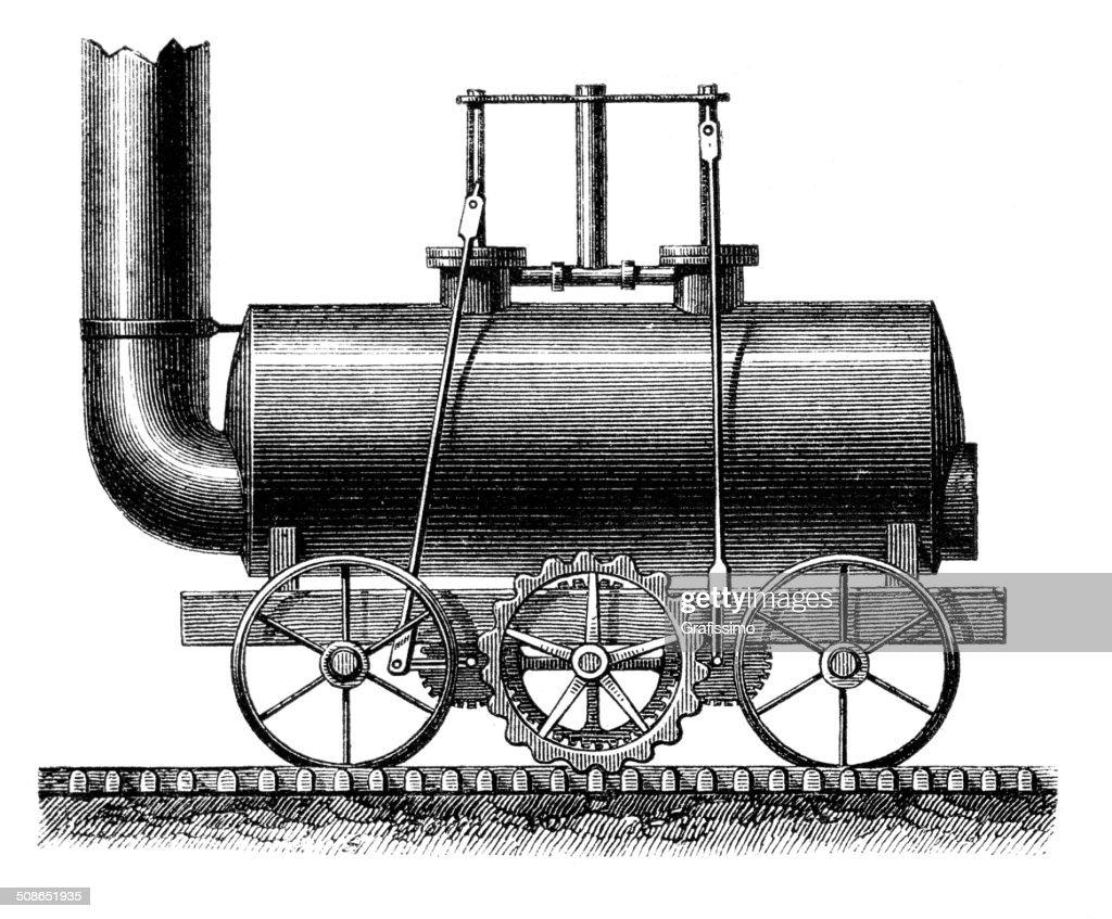 Steam train from Blenkinsop 1811 : Stock Illustration
