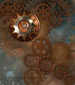 Steampunk rusty background with gears