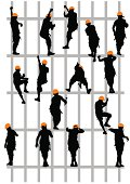 Vector drawing steeplejack working on construction. Silhouettes on a white background Saved in the eps.