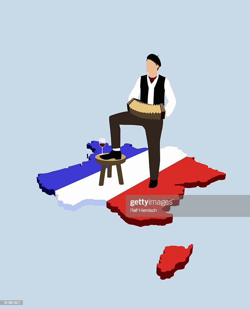 Stereotypical French man standing on French flag in the shape of France : Stock Illustration