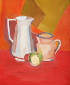 Still life illustration with a two pitchers and a one green apple in warm colors