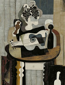 Symbolic image of still life with a guitar in the style of cubism.