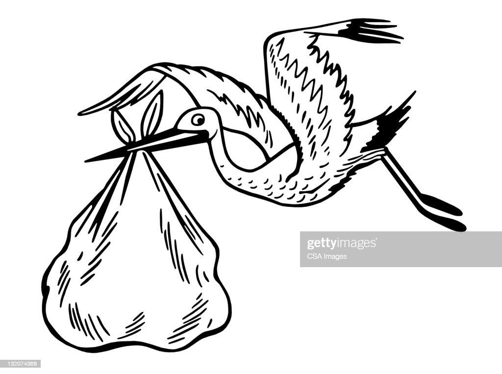 Stork Carrying Baby : Stock Illustration