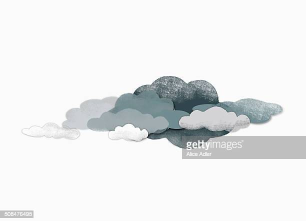Storm clouds over white background