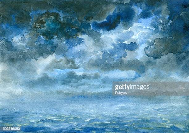 storm clouds, watercolor painting
