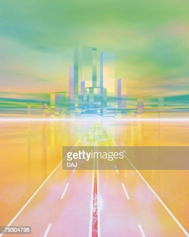 Straight driveway and image of skyscrapers, Computer Graphics, composition : Stock Illustration