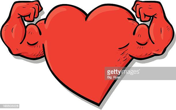 strong heart character vector art getty images