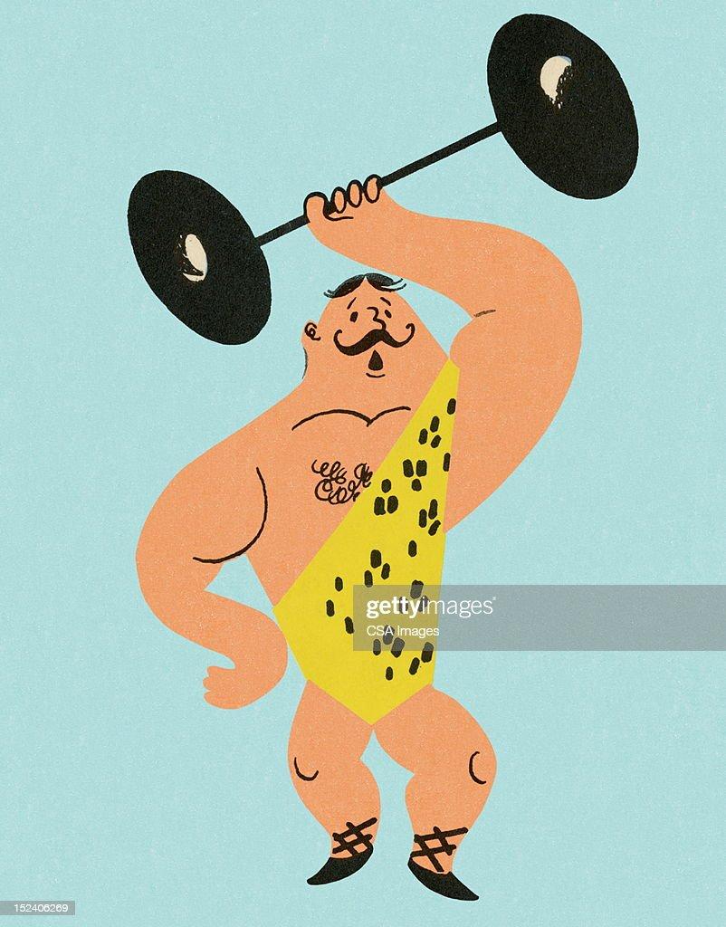 Strong Man Lifting Weights : Stock Illustration