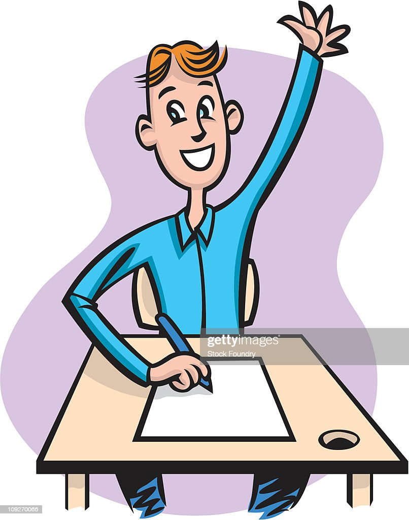 A student sitting at his desk with his hand up : Stock Illustration