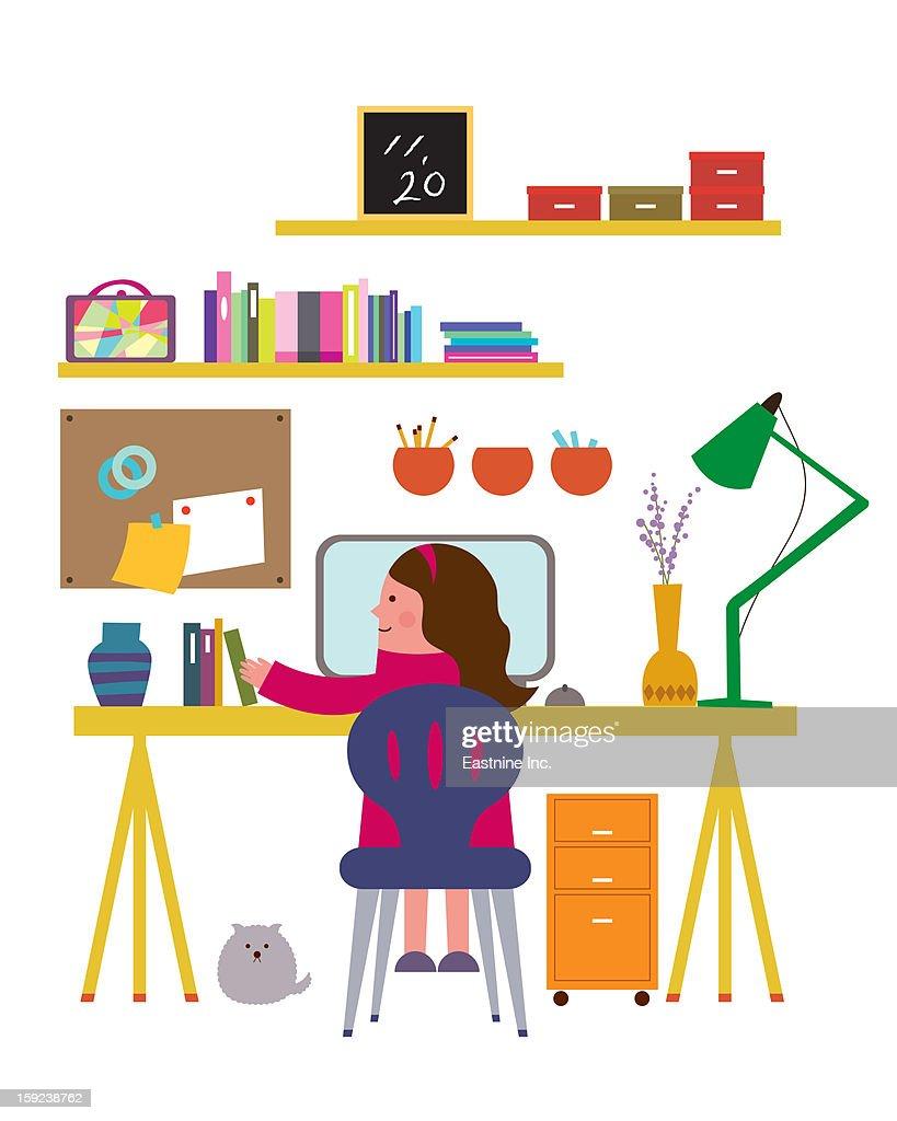 Study room interior : Stock Illustration