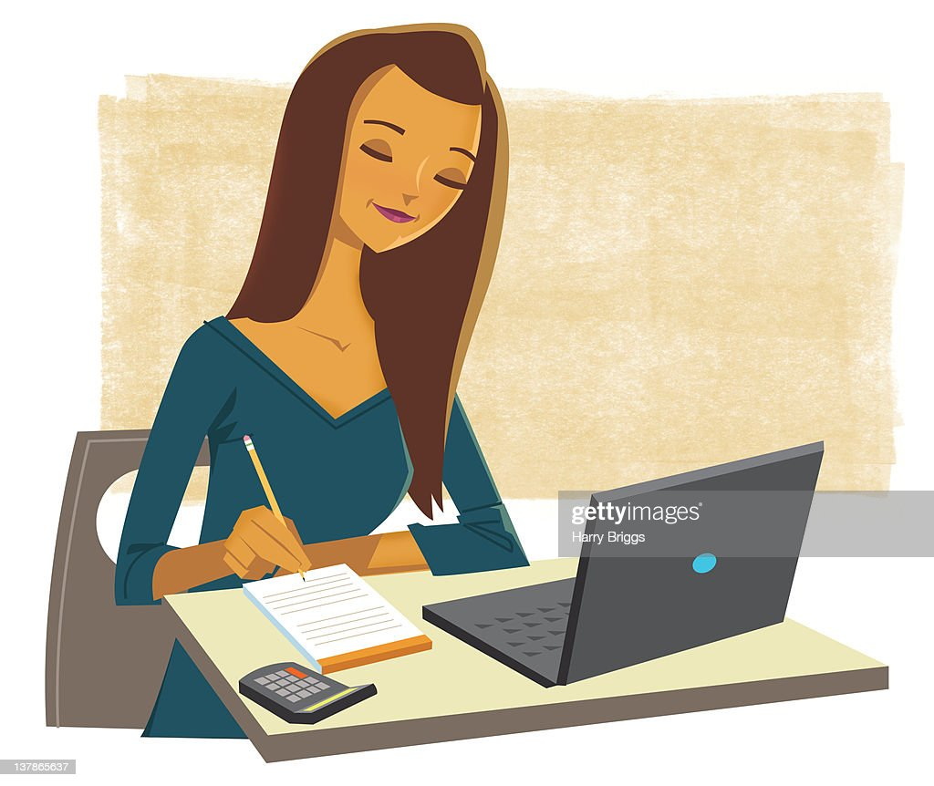 Studying Teen : Stock Illustration