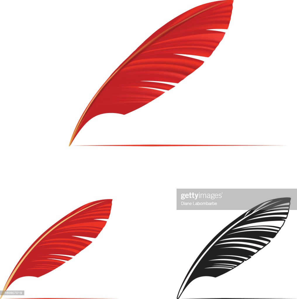 Stylish Red Feather Pen Icon Vector Art | Getty Images