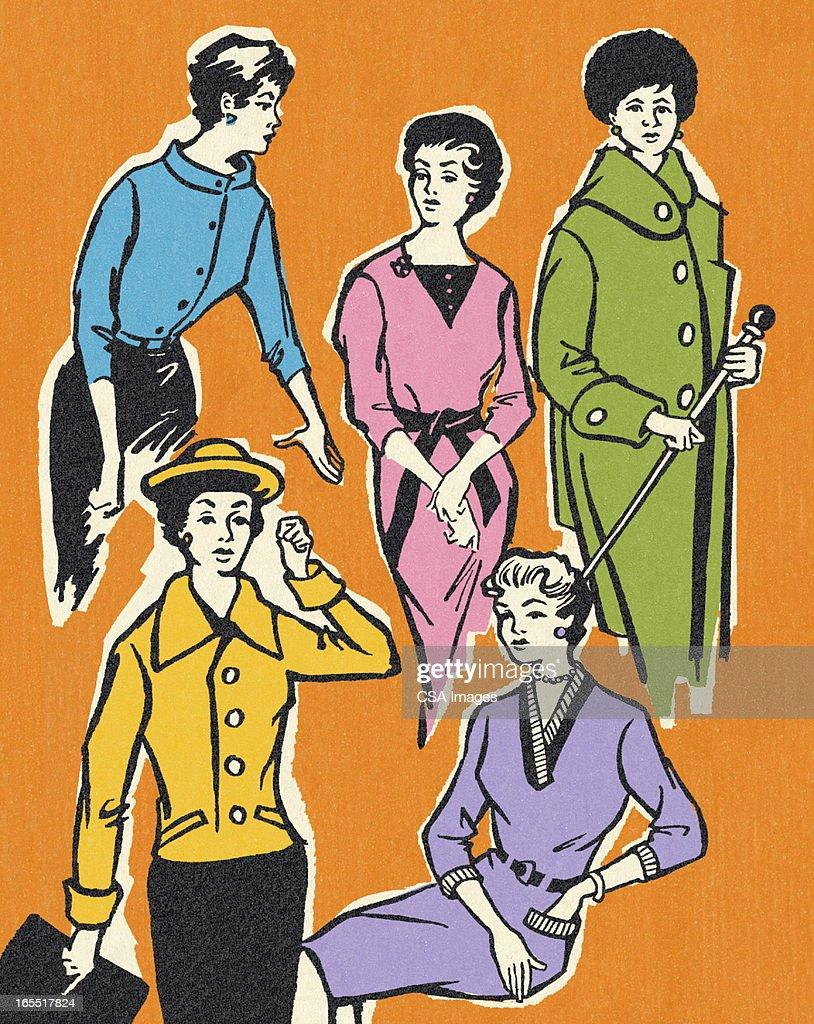 Stylish Women : Stock Illustration