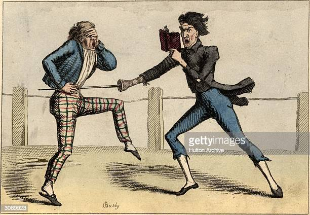 'Suiting the action to the word' A fencer consults a manual even as he runs his opponent through with his sword An engraving by Busby published 1825