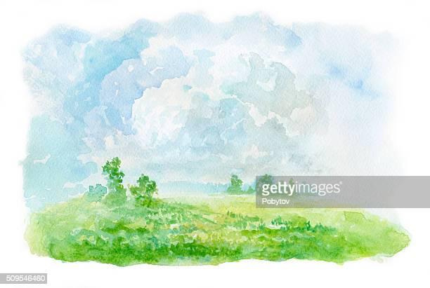 Paysage d'été, aquarelle