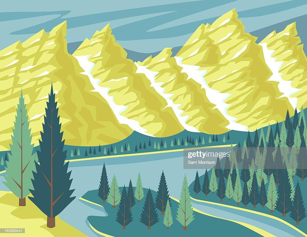 Summer Mountain Scene : Stock Illustration