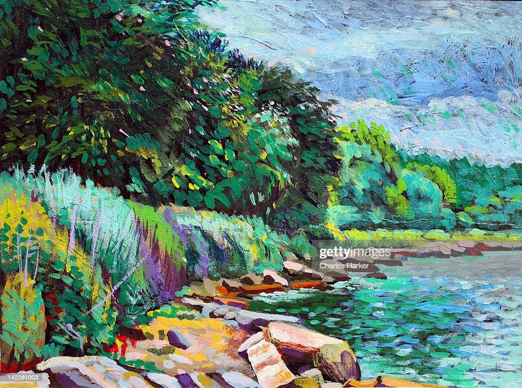 Summer shore of Hudson River, New York : Stock Illustration