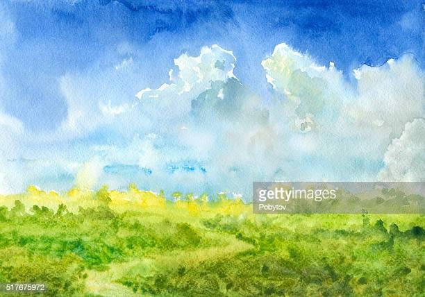 Été paysage aquarelle