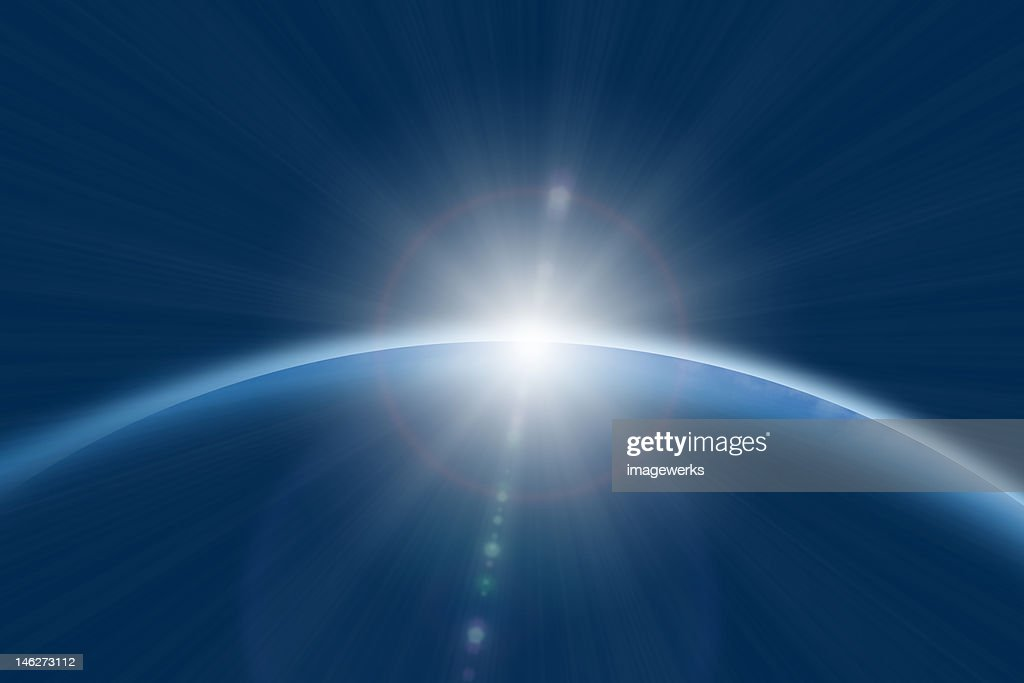 Sun rising on planet : Stock Illustration