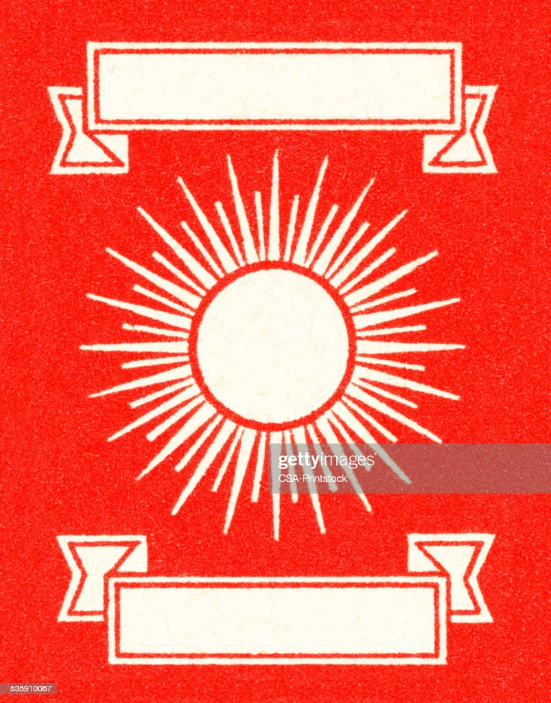 Sunburst and Banners on Red Background : Stock Illustration