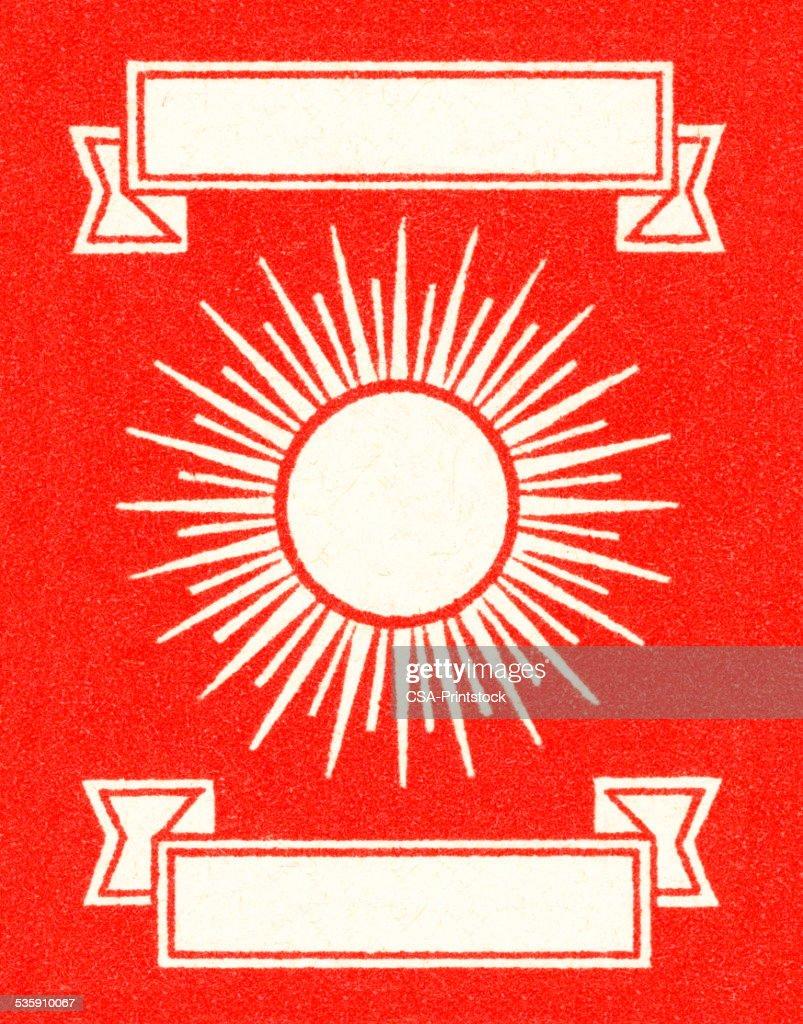 Sunburst und Banner auf rotem Hintergrund : Stock-Illustration